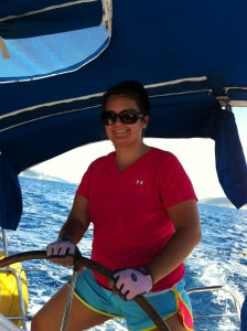 Skipper Anne developing leadership abilities on the first British Virgin Islands Project Team adventure in 2012.