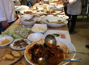 """The grand finale at cooking school. What an amazing banquet of talent. Small tasting portions were the rule of the day. A new preference now as well who wants """"palette fatigue"""" - that is too much of a good thing."""
