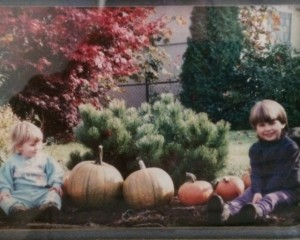 Years ago picture of my little pumpkins with our pumpkin harvest from our garden.