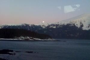 Blue Moon Rising at Dusk - 3:30 PM Alaska Time.