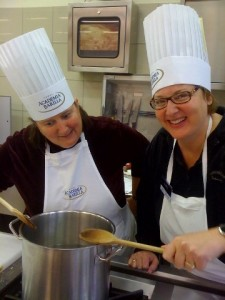 Carey and I learn how to boil Italian water at cooking school.