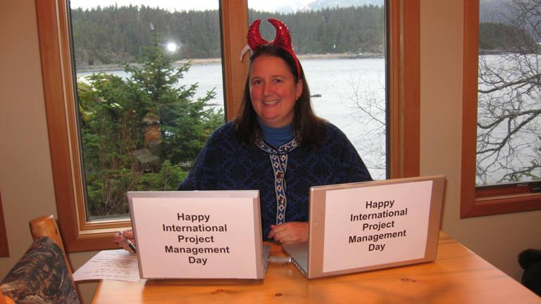 Celebrating International Project Management Day AND finishing the writing retreat project with Barb (she preferred the devil horns to the tiara).