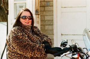 Michelle on her Harley Sportster