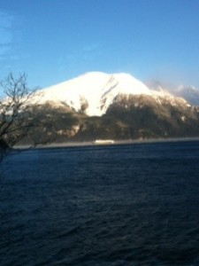 The view from the Executive Business Suite at the Inspired Eagle Eco Bed and Breakfast in Haines, Alaska