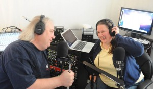 Working in the studio with my co-host, Bryne Edwards